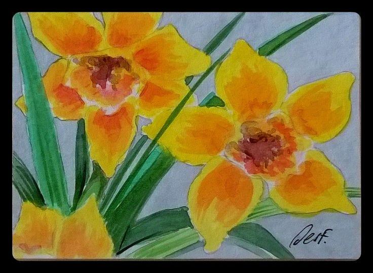 """Daffodils #2"" ACEO Original painting daffodils flower garden miniature art Desf"