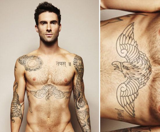 Adam Levine has numerous tattoos on his arms and torso, but perhaps one of the largest is the eagle that spans across his chest. He showed them off in a spread for Cosmopolitan UK.