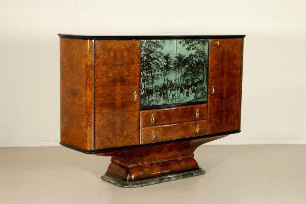 Mobile bar; legno impiallacciato radica, vetro retro trattato e vetro serigrafato, marmo. Buone condizioni, presenta piccoli segni di usura.