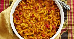 """Southwestern Macaroni Casserole - from the """"Forks Over Knives"""" cookbook"""