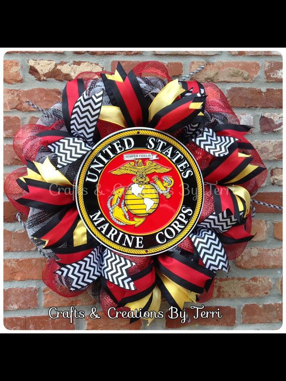 Marines Wreath - Marine Corps Wreath - USMC Wreath - Any Branch of the Service Wreath- Deco Mesh Wreath - Door Decor - Made To Order