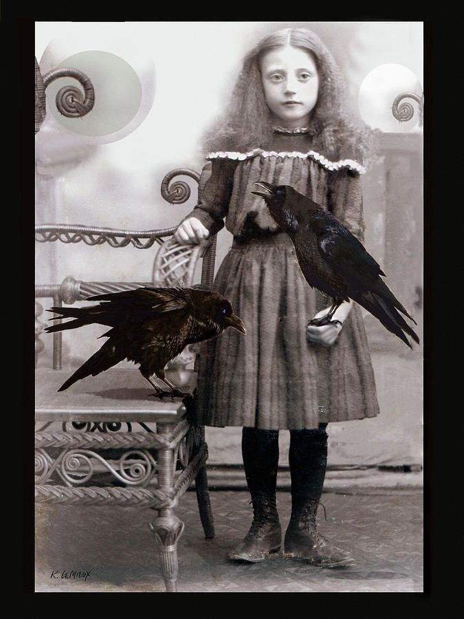 """Super Spooky in a """"I'm not sure WHERE that Little Girl is from"""" Kind of way.......""""Flora's Ravens"""" by Kathryn LeMieux"""