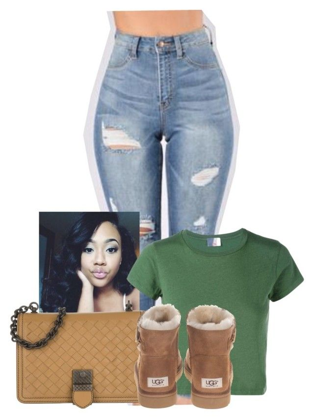 """That smile on your face makes it easy to trust you"" by gawdesz ❤ liked on Polyvore featuring RE/DONE, Bottega Veneta and UGG Australia"