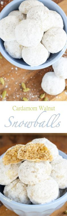 In these Cardamom Walnut Snowballs toasted walnuts blend perfectly with warm cardamom. Plus who can resist a cookie coated in powdered sugar?!: