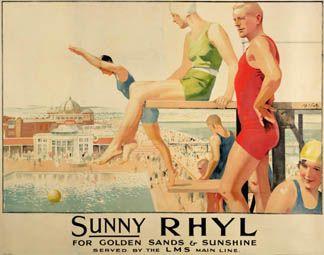 Sunny RHYL, vintage poster