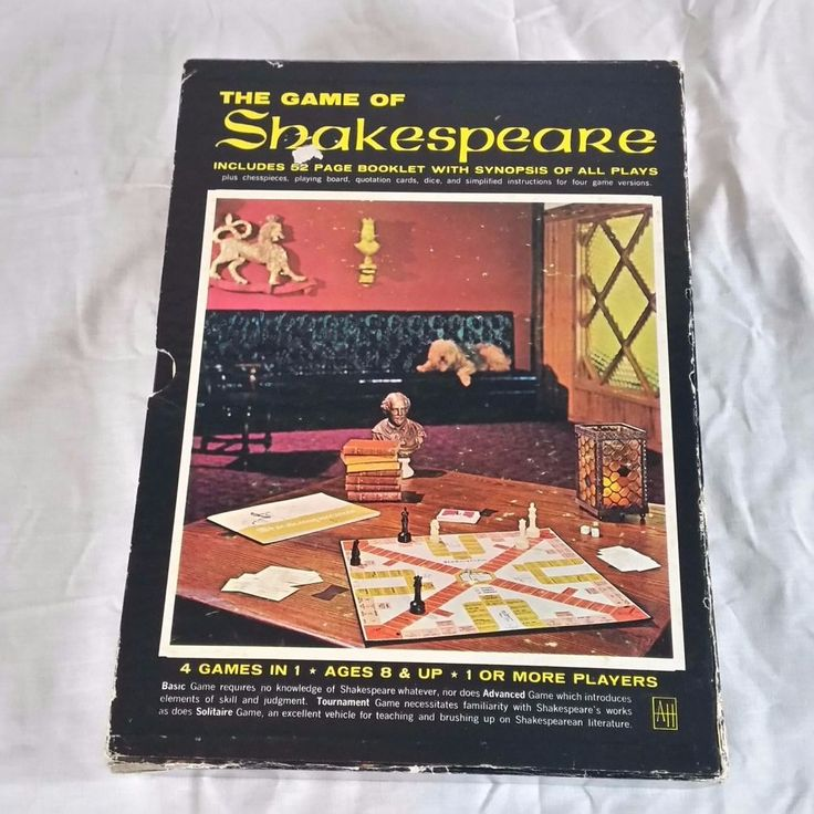 The Game of Shakespeare Bookcase Game from Avalon Hill 4 games in 1: Basic (no need to know anything about Shakespeare), Advanced (a game of skill and strategy), Tournament (for Shakespeare buffs), and Solitaire (great for teaching and brushing up on Shakespearean Literature)