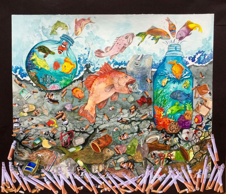 """""""Last Resort"""" by Timothy K., Honorable Mention Award Winner (Middle School) in the 2016 Ocean Awareness Student Contest #art #pollution #marinedebris"""