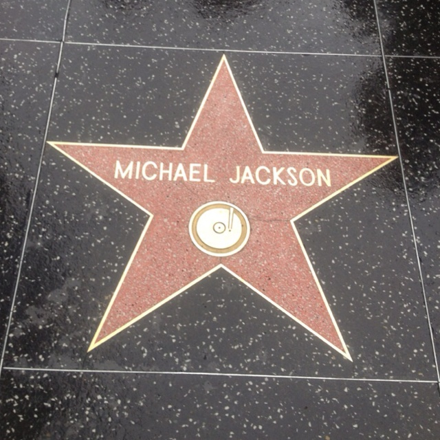 Michael Jackson Star on Hollywood Walk of Fame on a rainy day in LA RIP MJ