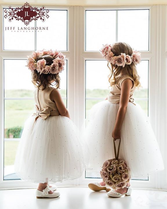 oh so adorable ... flower girls in tulle & flower crowns   Jeff Langhorne Photography