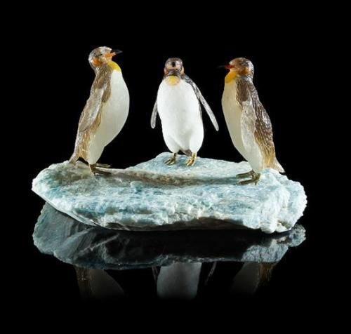 A quartz and multi stone penguin family carving peter