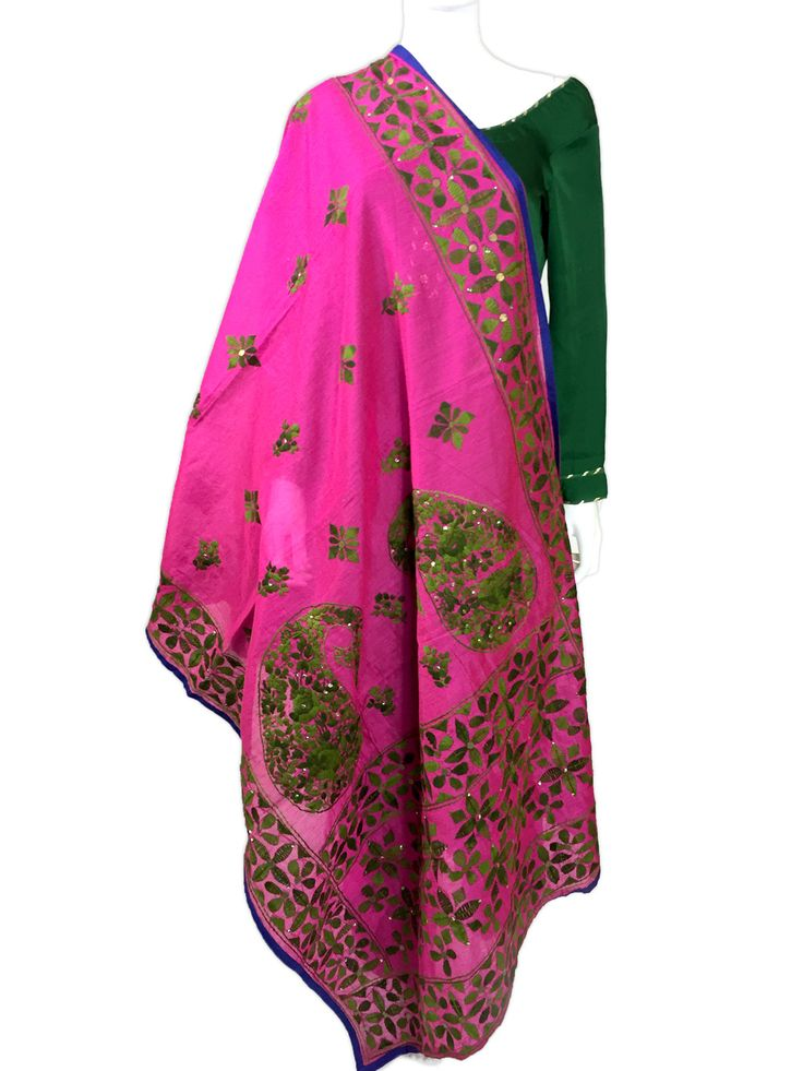 Shop Online our exclusive collection of hand embroidered Chanderi Dupatta's. Ready to Ship fro California. Free shipping in USA! We Ship worldwide. Buy Online www.pinkphulkari.com