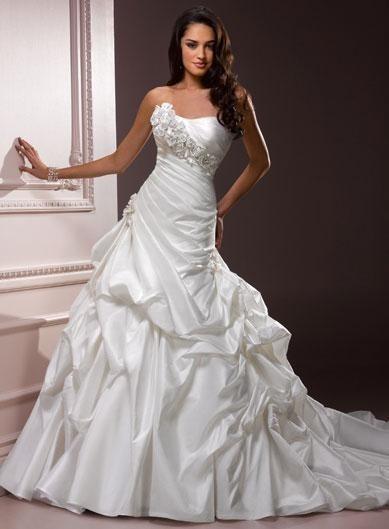 strapless flower  pleated  taffeta ballgown wedding dress