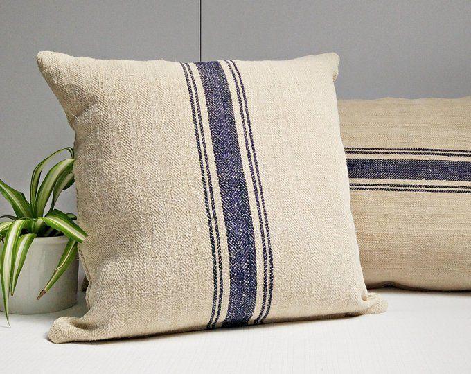 Grain Sack Lumbar Pillow Cover Authentic Antique European Etsy Grain Sack Pillows Grain Sack Grain Sack Fabric