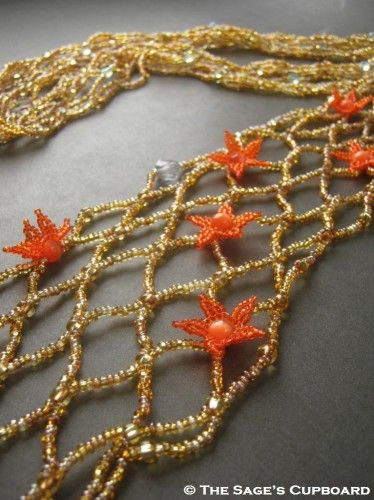 Orange Starfish Necklace. Golden Tide Fish Net Beaded Scarf Lariat