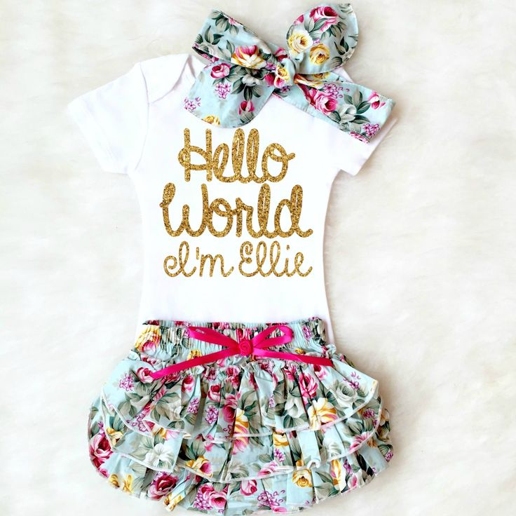 Hello World Baby Girl Outfit comes with free personalization. The perfect newborn girl gift and coming home outfit! ALWAYS the favorite at every baby shower! // Kennedy Claire - Children's Boutique