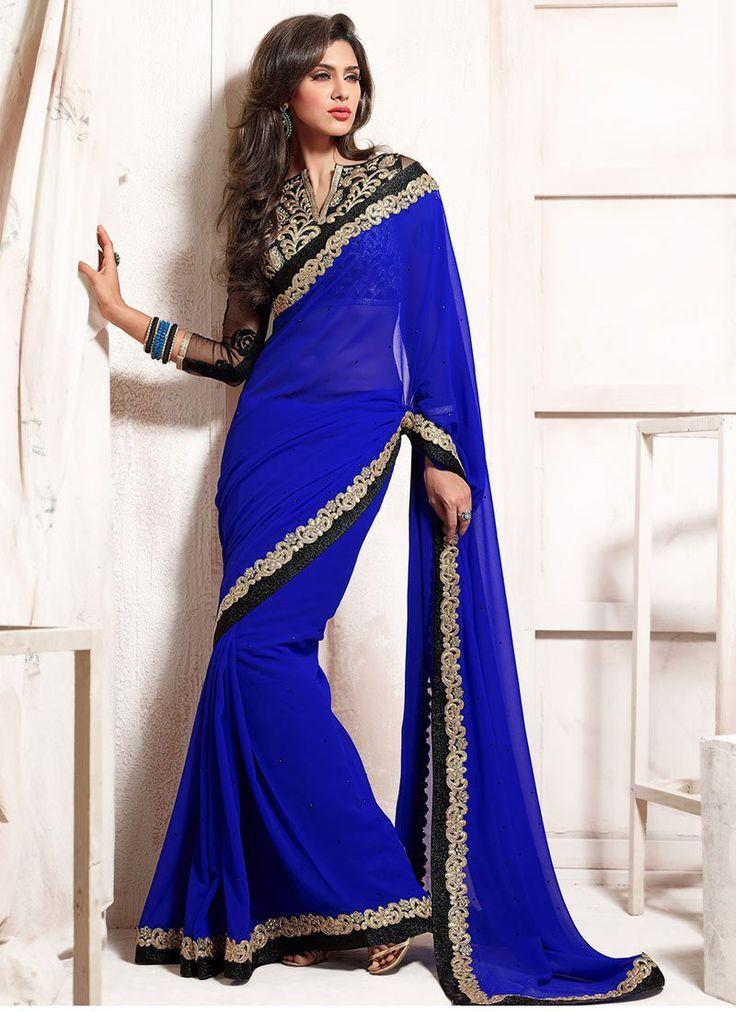 Royal Blue Color Georgette Saree - Rs. 1750.00