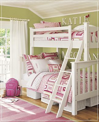A cute way to make a 'green' girls room for my daughter who's favorite color is green, and I love the names above the beds!