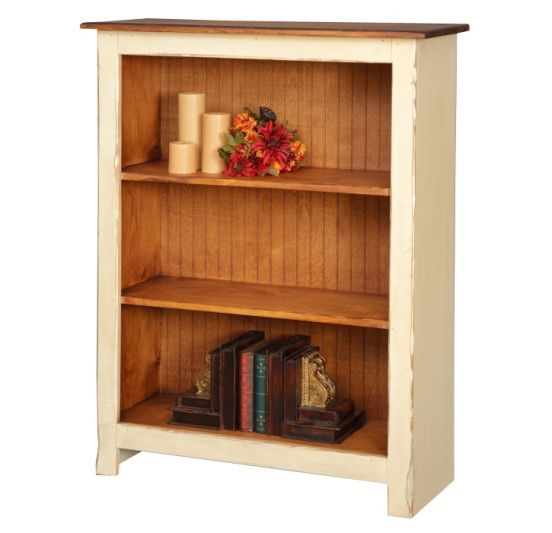 Low Farmhouse Bookcase: Sized to fit just about anywhere this farmhouse bookcase adds character and charm to any room you put it in. Available in 14 colors, six stains, or a combination of both. With all the options you are certain to create one that is perfect for your taste. Proudly handcrafted in the USA