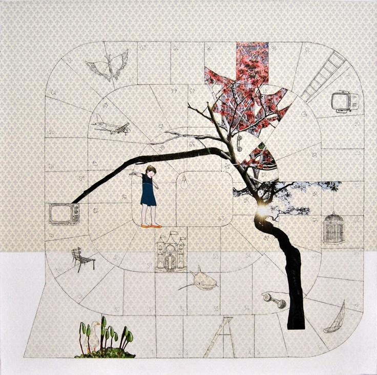 Alice Colombo,Il gioco dell'oca,tecnica mista e collage su tela,70x70cm,2010