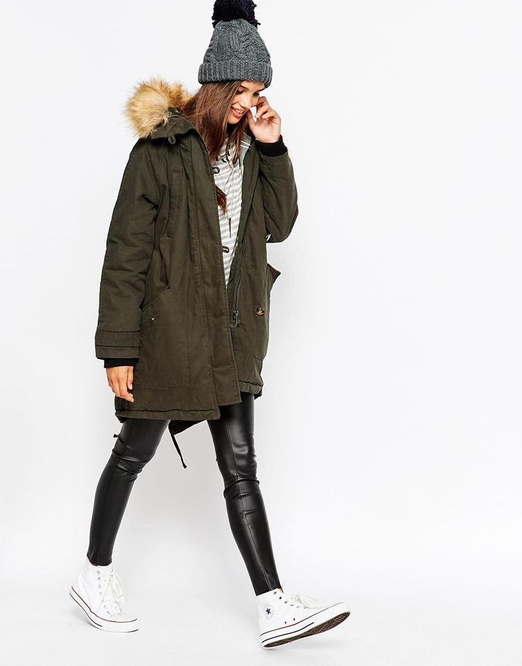 Image 4 ofASOS Parka With Check Liner And MA1 Detail