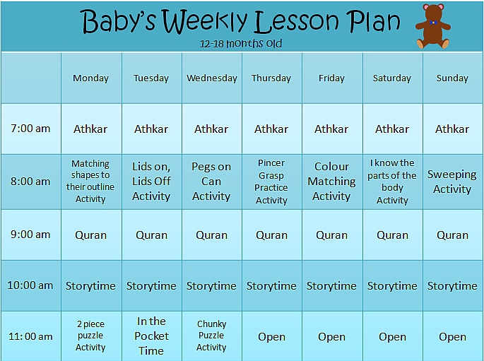 Ideas, calendars for homeschooling 9-12 months and 12-18 months. Created by a Muslim homeschool mom.