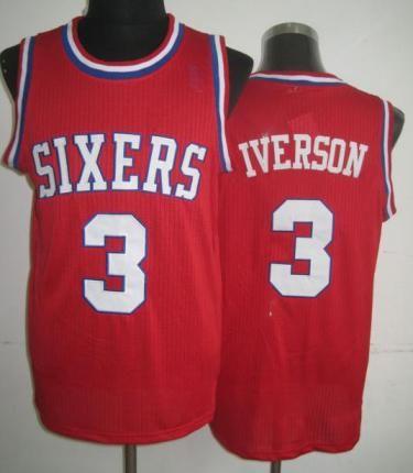 ... Philadelphia 76ers 3 Allen Iverson Red Hardwood Classics Revolution 30 NBA  Jerseys ... 107813e84