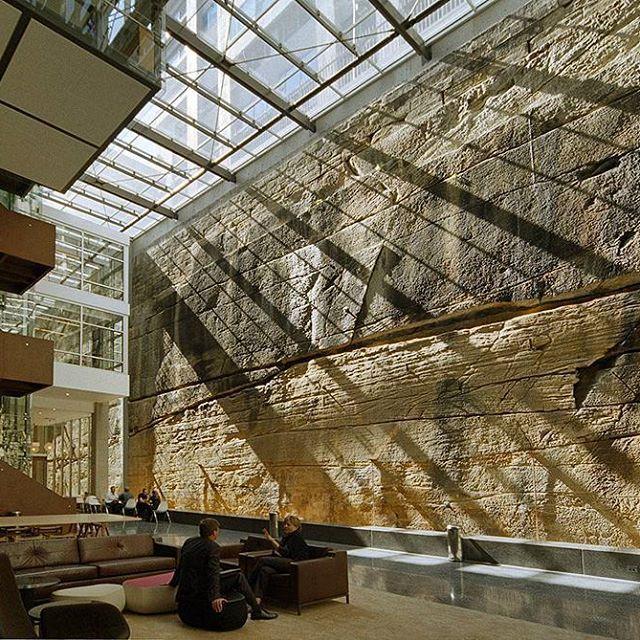 30 The Bond, Millers Point, Sydney, Australia. Photo credit: John Maramas.  #architecture #ptwarchitects #leandlease #chilledbeam #atrium #heritage #5starbuilding #commercialarchitecture #highrise