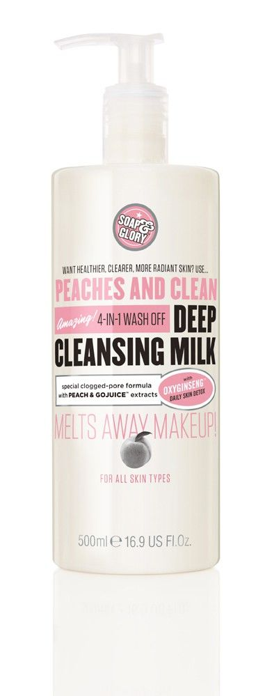 PEACHES AND CLEAN™ DEEP CLEANSING MILK A FOUR-IN-ONE DEEP CLEANSING MILK RRP $15.00    - 16.9FL.OZ