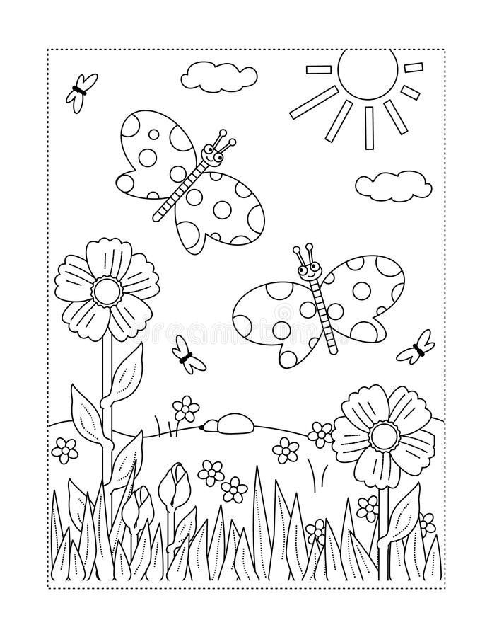 Coloring Pictures Of Flowers And Butterflies Coloring Page With Butterflies Flowers Sun Gr Spring Coloring Sheets Butterfly Coloring Page Spring Coloring Pages