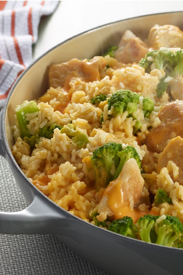 VELVEETA® One Pot Cheesy Chicken and Broccoli Rice – Not a math whiz? This one's easy. 1 skillet + 5 ingredients + 25 minutes = a cheesy chicken, broccoli and rice dish recipe that's perfect for your dinner table. Now that's a tasty equation.