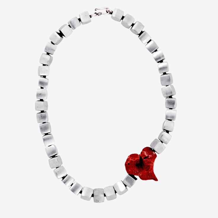cubes & coral necklace | xombli design e-shop | by Elena Votsi