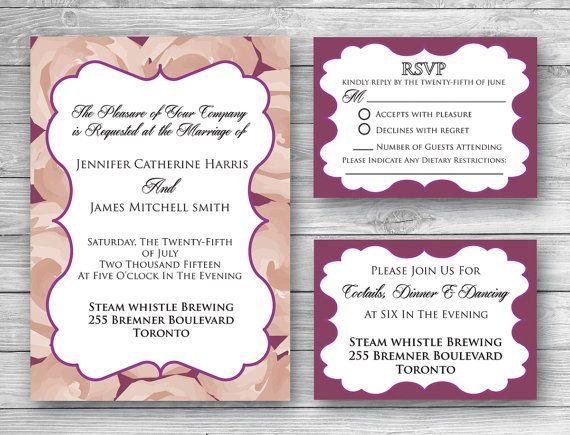 Emily Wedding Invitation Set  Digital by WeddingGlitzPrints