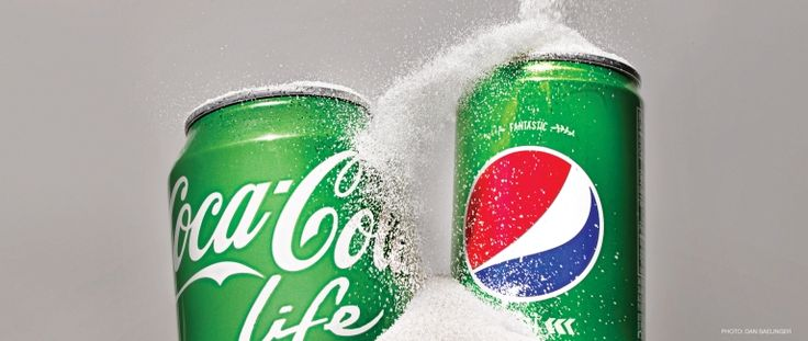 Cans of Coca-Cola Life and Pepsi True