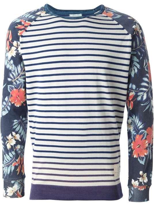 Scotch  Soda | floral and striped print sweatshirt #scotchandsoda #sweatshirt