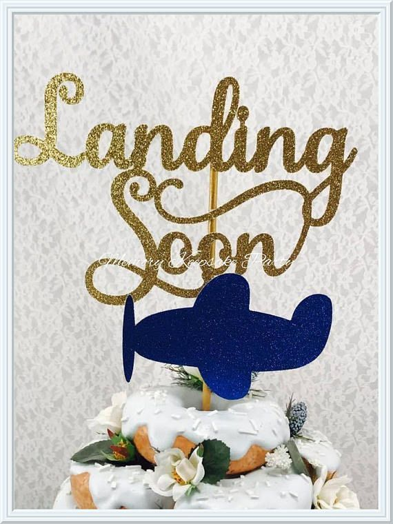 Landing Soon Cake Topper - Baby Shower Cake Topper - Airplane Cake Topper - Baby Shower Party Decorations - Boy Baby Shower Cake Topper
