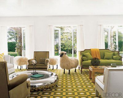 Love the playful sheep and green and yellow rug is this living ...