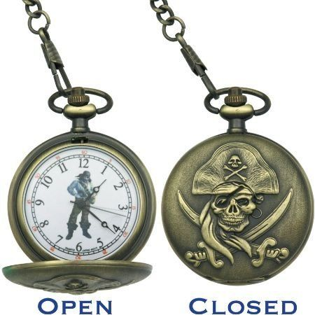 Infinity Pocket Watches 50 Pirate Pocket Watch with White Face & Black Hands & Pirate Artwork by Infinity. Save 56 Off!. $15.29. Infinity Pocket Watches - Pirate Pocket Watch with White Face & Black Hands & Pirate Artwork. Model: IW50. Second hand. Antique gold finish sculpted cast metal case with sculpted pirate artwork on front. Japanese quartz movement. Antique gold finish metal chain. Gift boxed