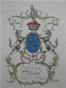 Jacobs ENG Peerage RARE Coat Of Arms Fiennes Viscount Say Sele 1700'S