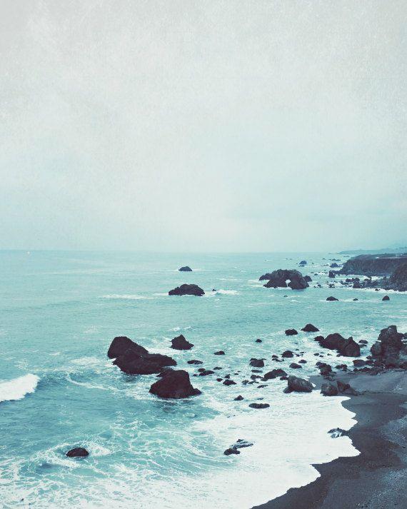 Beach Photograph, California Coast, Blue White Beach Wall Art, Ocean Waves Print, Nature Photography, Beach Print – Dusk at the Sea – Karolina Zwolińska