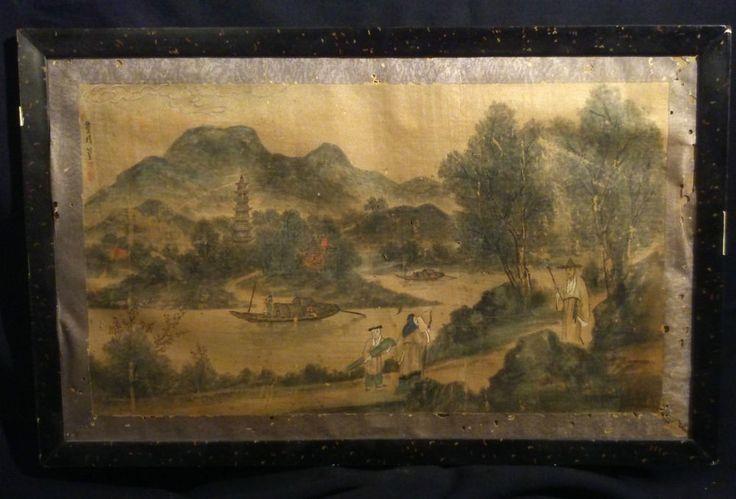 Rare peinture sur soie Chinoise XVIIIe XIXe siècle  a restaurer / signé / 50x30