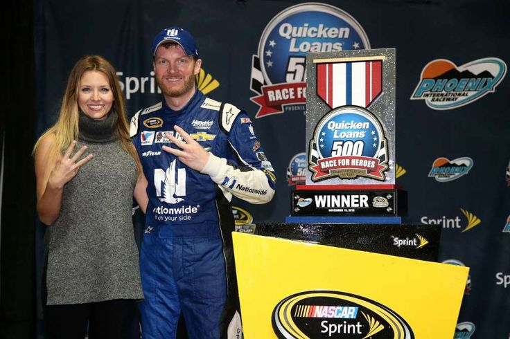Looking back on Dale Earnhardt Jr.'s 26 career wins  -  April 26, 2017:     PHOENIX RACEWAY, NOVEMBER 2015  -    Earnhardt and his wife, Amy, celebrate his last victory in the fall race at Phoenix in 2015. Only time will tell if Earnhardt can break into Victory Lane a few more times before he calls it a career.