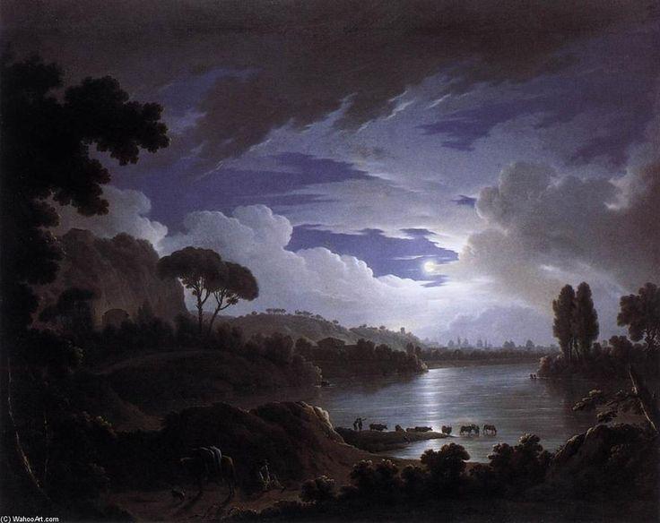 Scène éclairée par la lune sur le Tibre près de Rome, huile sur toile de Michael Wutky (1739-1822, Austria)