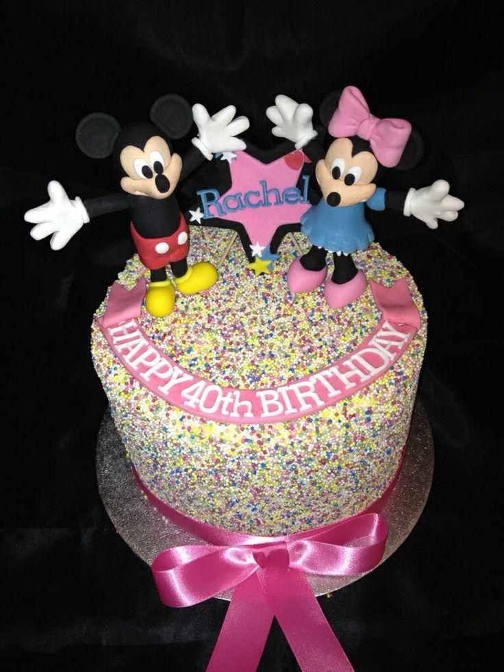 Disney Rainbow Layer cake with handmade Fondant characters