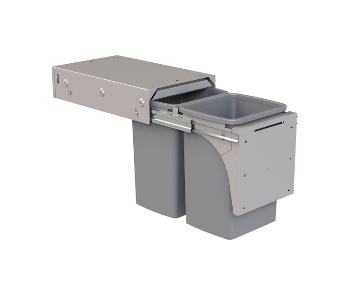 Hideaway Soft Close model: SC220D-G  in Ghost Grey. 2 x 20L buckets. Great as a recycling separation system. Features a friction-fitted lid with a Clinikill™ antibacterial powder coating.
