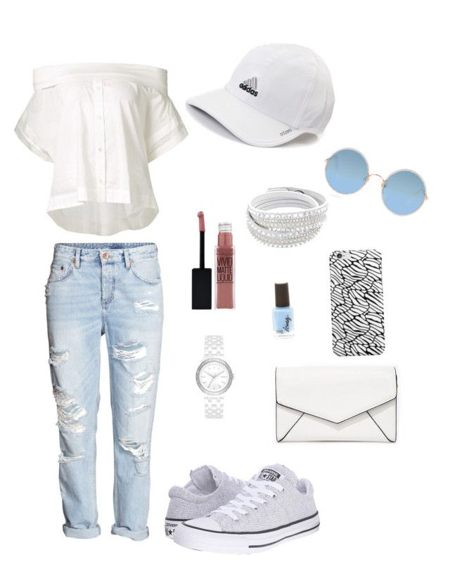 """""""COOL OUTFIT"""" by juliapedersen0 on Polyvore featuring adidas, Converse, Sea, New York, Sunday Somewhere, DKNY, LULUS and Maybelline"""