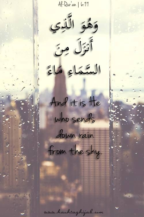 And it is He who sends down rain from the sky. 6:99 | © www.hashtaghijab.com