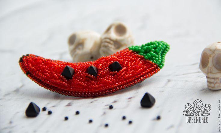 """Купить Брошь """"Перец Чили"""" - ярко-красный, зеленый, перец, перец чили, брошь"""