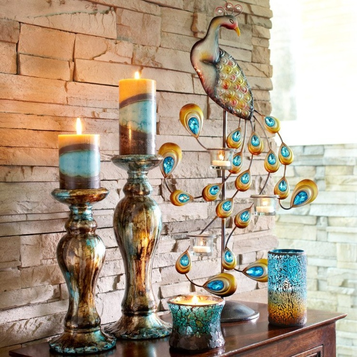 Pier 1 Jewel Peacock Centerpiece Candleholder with