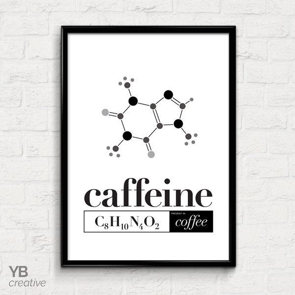 Caffeine Chemistry > typography art print || YBcreative SHOP #ybcreative