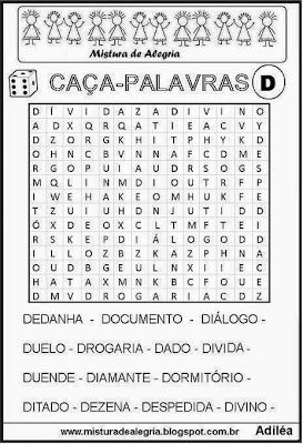 Caça-palavras alfabéticas-letra D